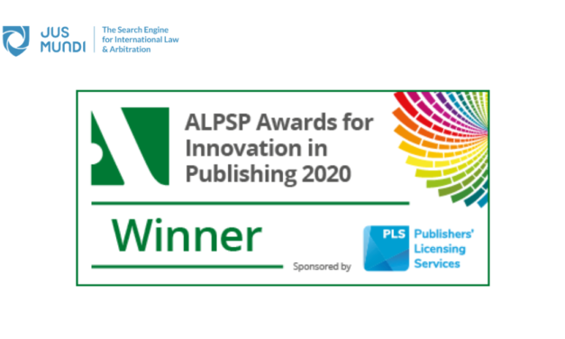 Jus Mundi wins the 2020 ALPSP award for Innovation in Publishing
