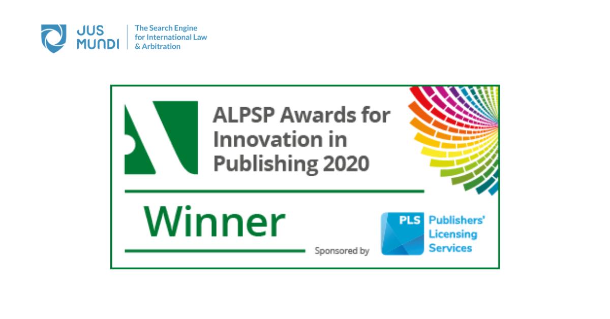 Jus Mundi wins the 2020 ALPSP award for Innovation in Publishing